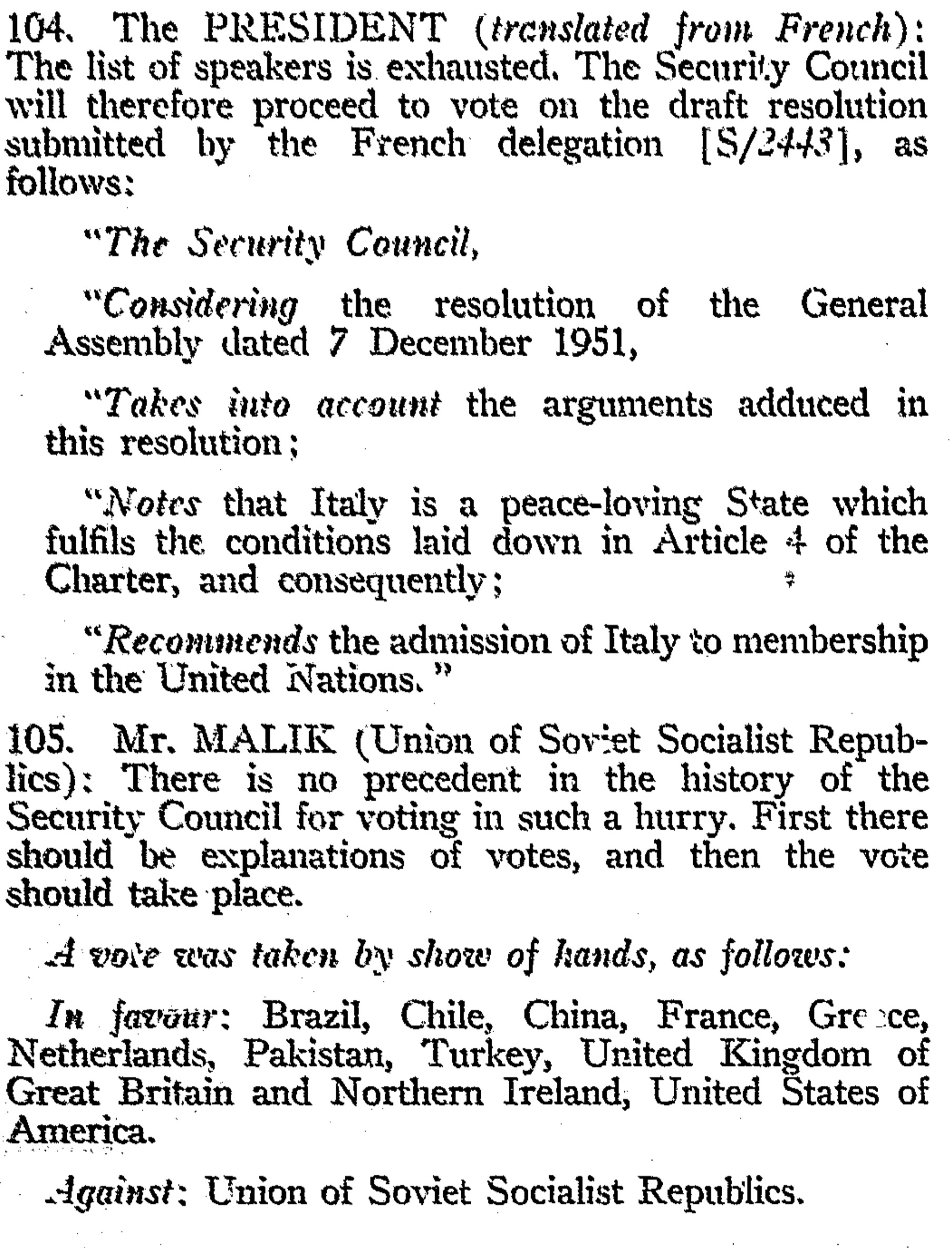 Veto by 1952 USSR on the admission of Italy to United Nations